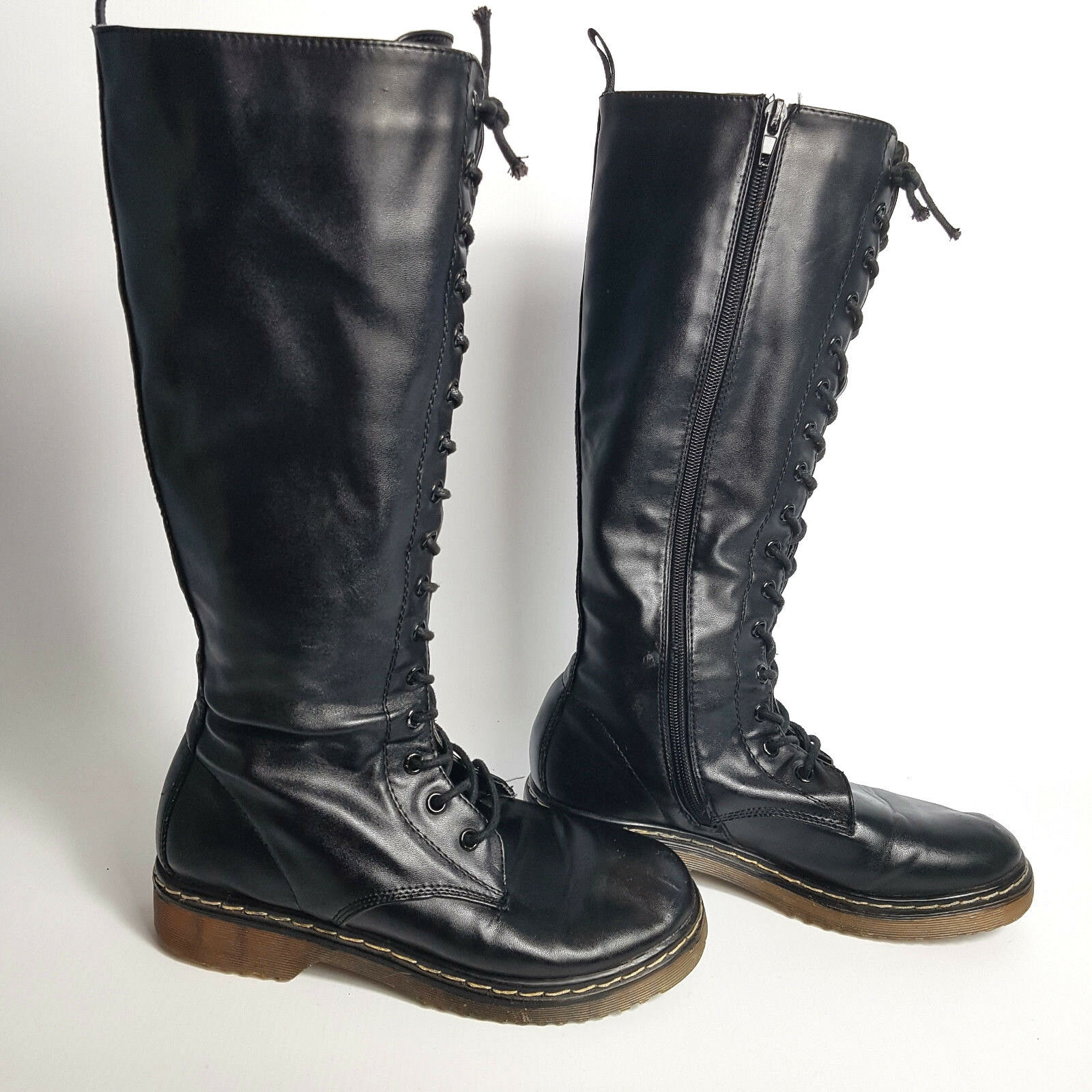 Truffle Rebellious Womens Knee High Lace Up Zip Combat Boots Size 3-4 Good cond