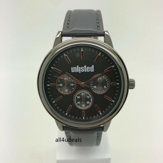 204a9ece373 Unlisted by Kenneth Cole Mens Gray Leather Band Gray Dial Watch 10031967