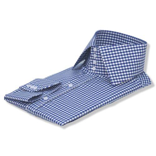 Homme Haut Col Chemise 4 bouton col vichy bleu carreaux 100/% coton pour homme