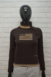 WOOLRICH-Maglione-Taglia-XS-Lana-Cardigan-Donna-Pullover-Sweater-Woman-Marrone