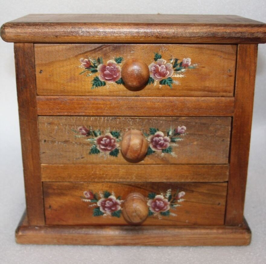 Vintage small chest of draws trinket draws reclaimed timber vintage solid wood
