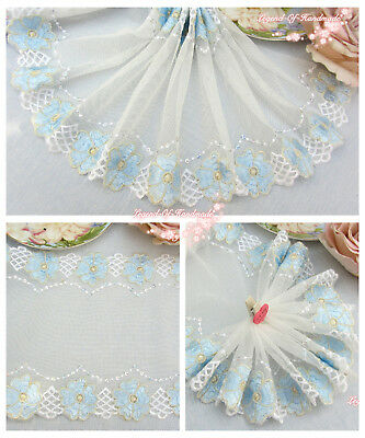 """7.5/""""*1Y Embroidered Floral Tulle Lace Trim~Vintage Ivory//Cream~Flowering Day~"""