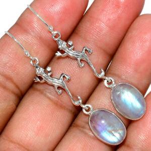 Lizard-Moonstone-India-925-Sterling-Silver-Earring-Jewelry-AE146374