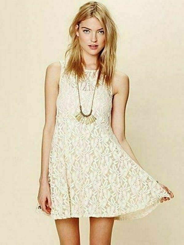 FREE PEOPLE   damen Miles Of Lace Dress [ Größe M or AU 12   US 8 ]