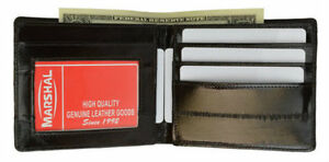 EEL-SKIN-MENS-BLACK-LEATHER-WALLET-BIFOLD-New-Free-Shipping-Credit-Card-Holder