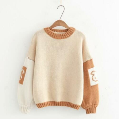 18 Japanese Womens Knitted Cotton Boat Neck Mori f Sweater Coat Mixed Color Warm