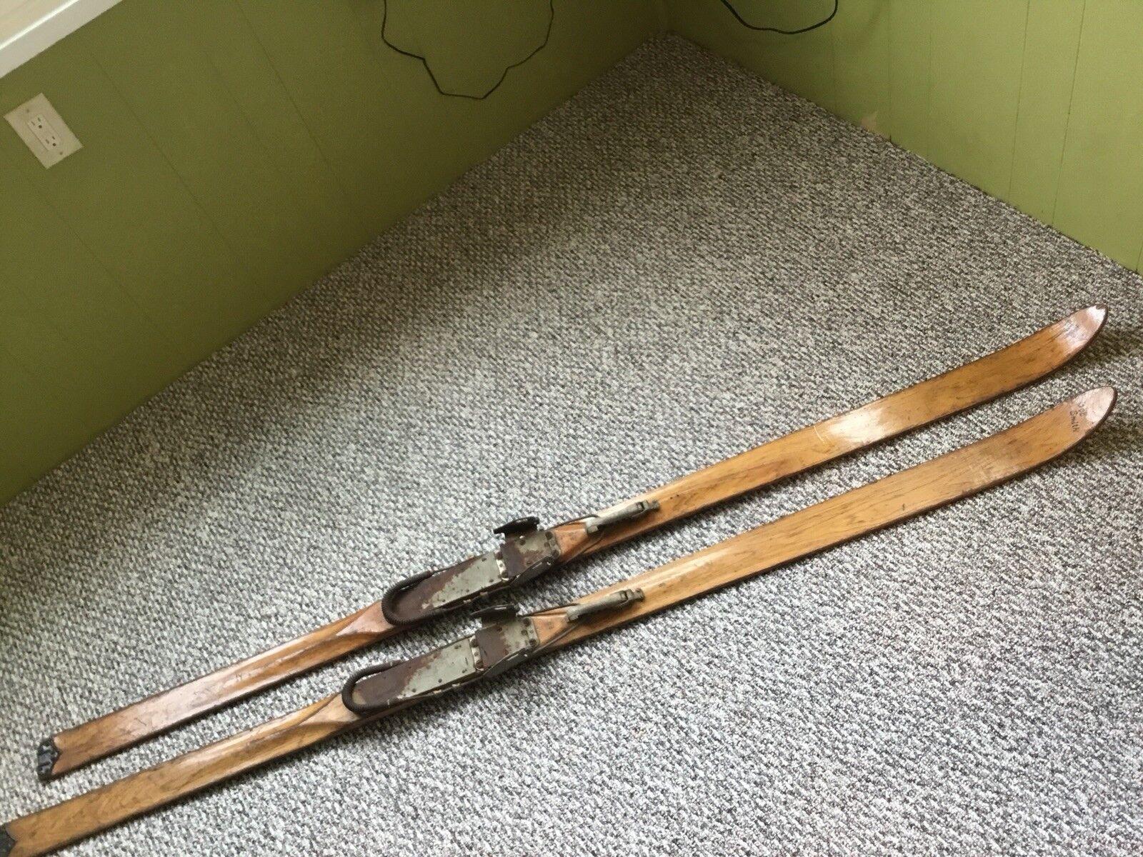 THOR GROSWOLD BROWN SKI SHOP DENVER 1940's-50's WOOD SKIS & DOVRE KABEL BINDINGS
