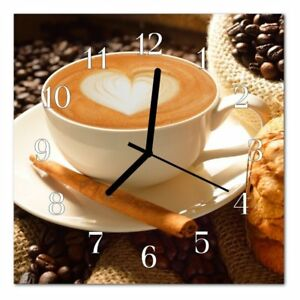 Glasuhren Küche | Dekoglas Glasuhr Kaffee Herz Braun 30x30 Eckig Acryl Glas Wanduhr
