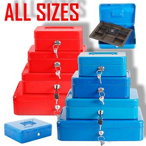 Metal Cash Box Money Bank Deposit Steel Tin Security Safe Petty Key Lockable