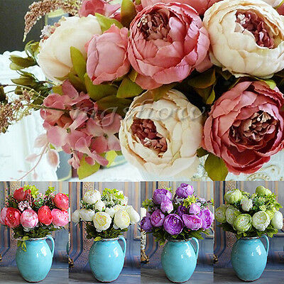 12 Heads Artificial Peony Silk Flowers Bridal Hydrangea Party Wedding Decor Home
