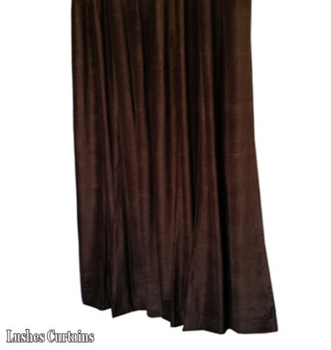Brown Velvet Curtain Panel 9ft H Noise Reducing Drapery Thermal Energy Efficient