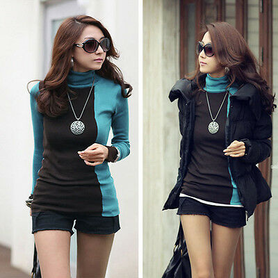 Women Lady Sweater Long Sleeve Turtleneck Pullover Casual Sweatshirt Blouse Tops