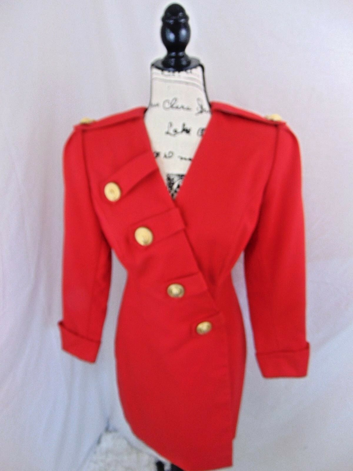 Vintage Career Dress 4  Beautiful Huge gold Buttons Nice Red Sophisticated N.O.
