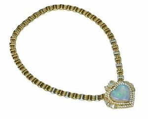 Opal-Heart-18K-Yellow-Gold-Diamond-Necklace-Pendant-Brooch