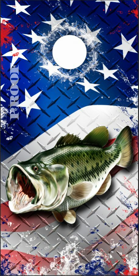Bass Fish Splash American Flag LAMINATED Cornhole Wrap Bag Toss Skin Decal