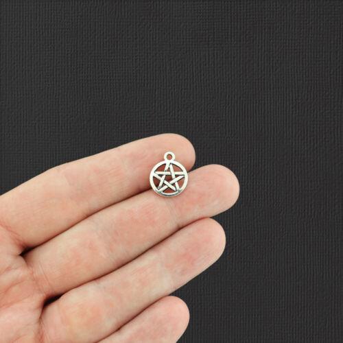 BULK 40 Pentagram Antique Silver Tone Charms SC519