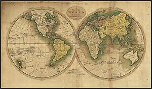 World map Circa 1800\'s Mounted on Poster Board With Black Edging 21 ...