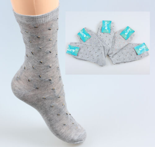 Socken 5 Paar Damen Mädchen  Baumwollsocken Grau neu Baumwollmischung