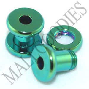 0532-Surgical-Steel-Green-Screw-on-fit-Flesh-Tunnels-4-Gauge-4G-5mm-Ear-Plugs