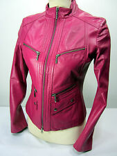 Danier Leather Slim Fit Tailored Full Zip Moto Hot Pink Women's XS Jacket