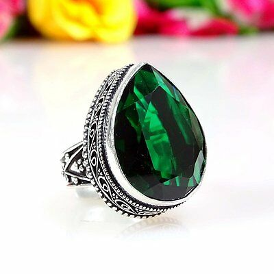 CHROME DIOPSIDE GEMSTONE 925 SILVER VINTAGE STYLE JEWELRY RING SIZE 9.50""