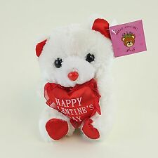 """White Plush 5"""" in Bear Stuffed Animal Holding Heart Happy Valentine's Day Gifts"""