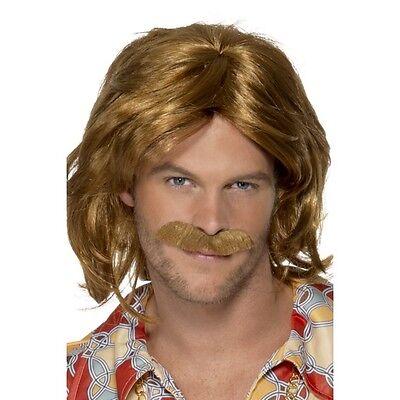 Mens 70's Super Trooper Wig & Moustache Fancy Dress Sweden Costume Disco Music