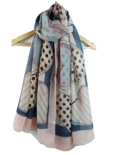 HEART PRINT SCARF Big Hearts Ladies Soft Gift Scarves Fashion  UK Seller