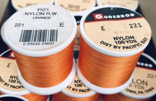 environ 1097.28 m 12 bobines GUDEBROD Rod Building Fil nylon orange #221 Taille E 1200 Yd