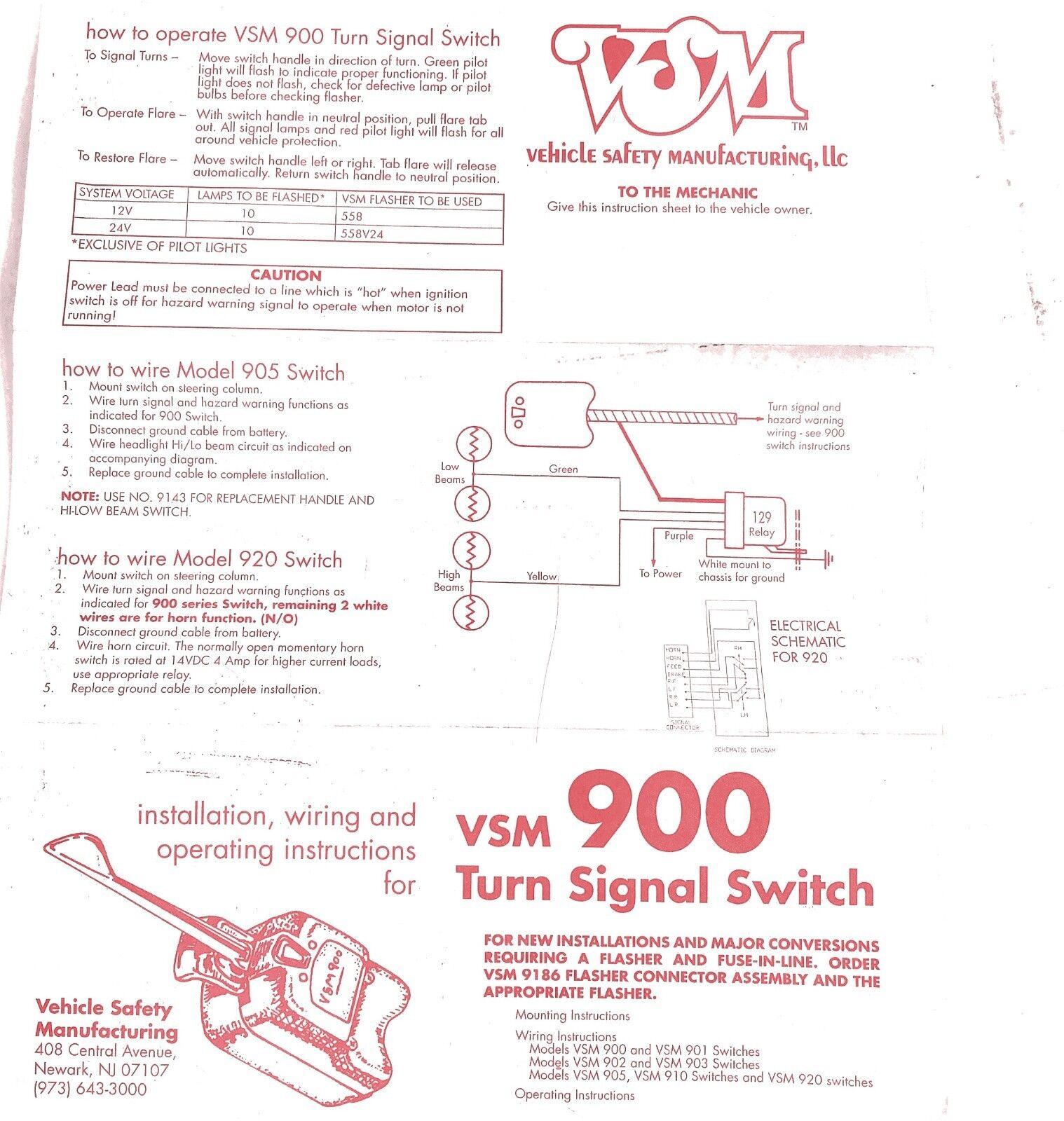 One VSM Vehicle Safety Mfg 900 Universal Heavy Duty Truck Turn Signal  Switch for sale online | eBay | Vsm 900 Wiring Diagram |  | eBay