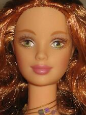 Nude Fairy Barbie light red long curly hair Barbie Mackie face sculpt red lip