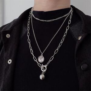 Hip-Hop-Silber-Gold-Anhaenger-fuer-Muenzen-Metal-Ball-Kette-Halskette-Punk-Choker