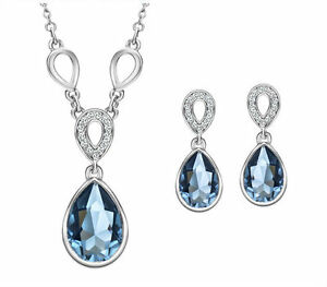 Austria-Crystal-Blue-Silver-Choker-Chain-Necklace-Pendant-Earrings-Jewellery-Set