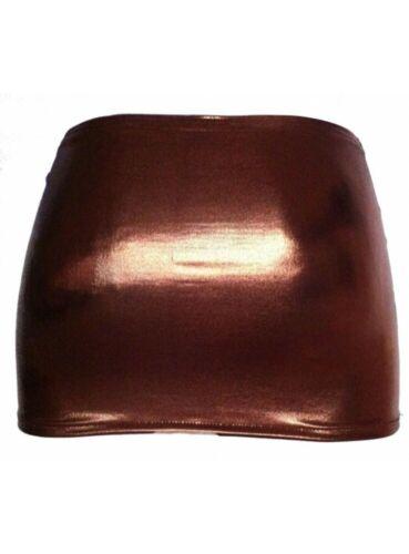 Mega brauner Gogo Wetlook Minirock Größen 44-52