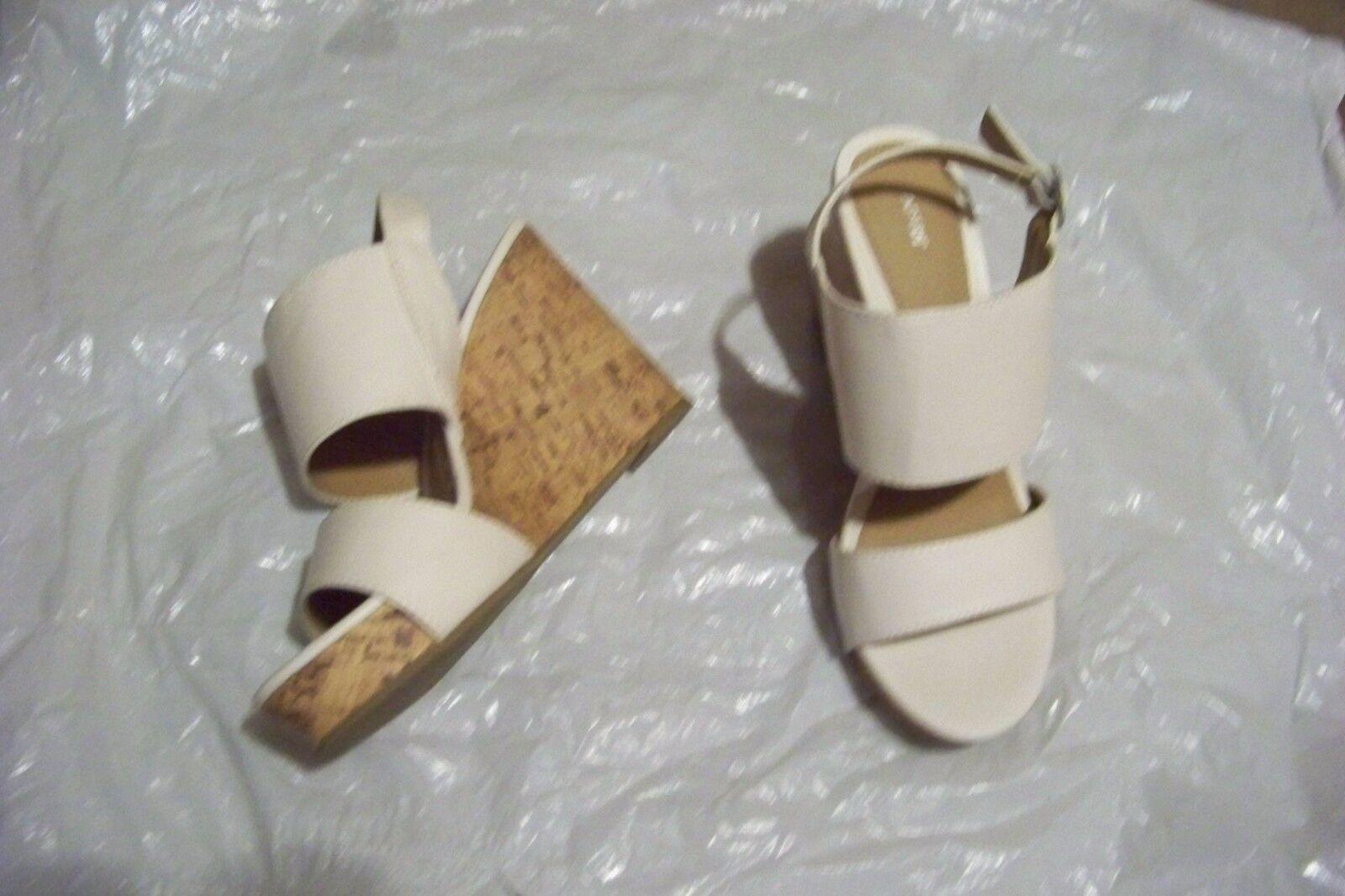 womens apt 9 bensen white shoes double strap wedge heels shoes white size 7 1/2 e907b8