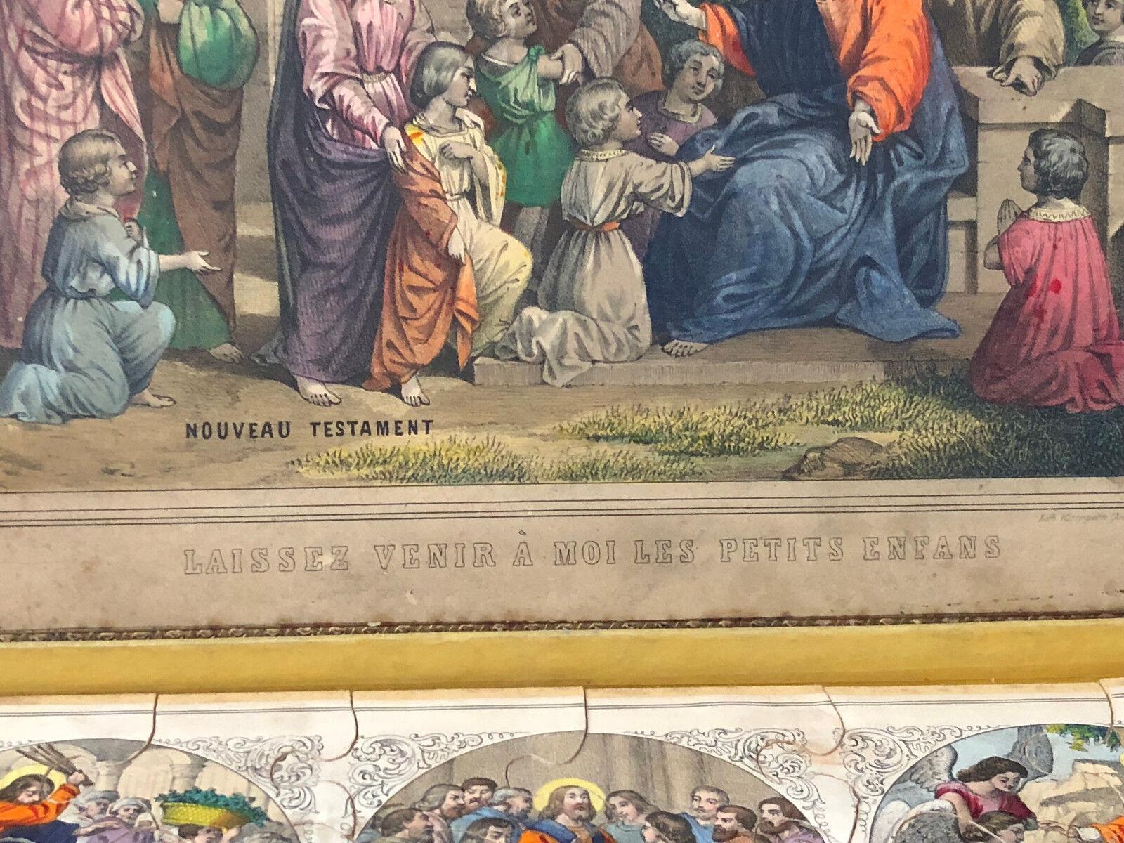 Joie de Noël, étape étape étape par étape Puzzle Nouveau TestaHommes t Jeux de Société Lithographiée Jouet Antique French ecac49