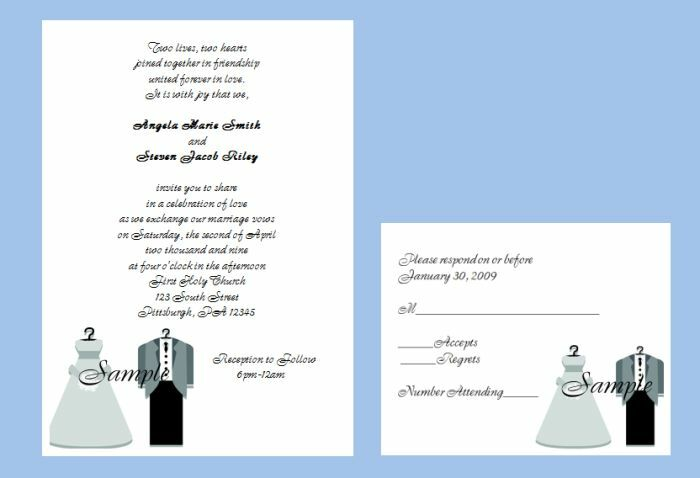 100 Personalized Bride and Groom Couple Bridal Gown Tuxedo Wedding Invitations