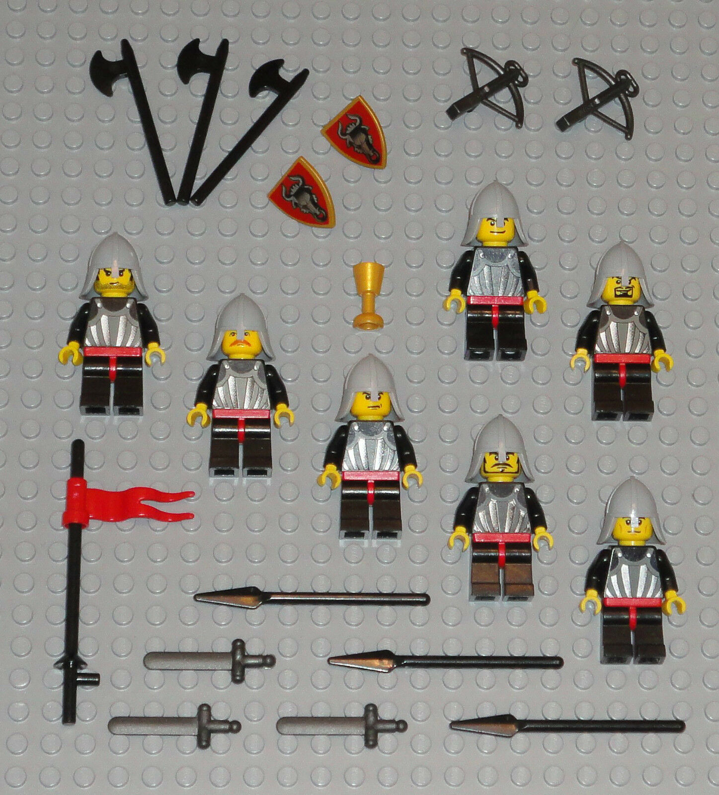 LEGO Minifigures Lot 7 Bull Knights Army Castle Castle Castle Guys Lego Minifig People Swords 8507b5