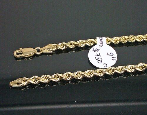 cuben environ 22.86 cm long #A2B5 Real 10K Homme Or Jaune Corde épaisse Bracelet 3 mm 9 in