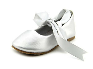 8bf4237e86504 New Girls Toddler Youth Kids Silver Ballet Style Shoes Christmas ...