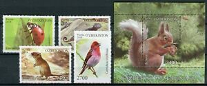 Uzbekistan-2018-MNH-Fauna-Ladybirds-Lizards-Squirrels-4v-Set-1v-M-S-Birds-Stamps
