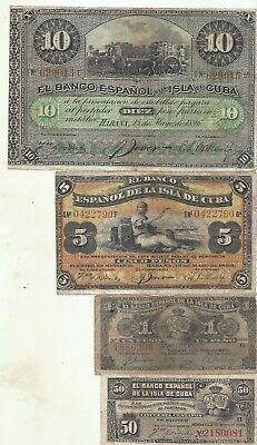 F-VF CONDITION SPAIN COLONIAL LOT 5x 50 CENTAVOS 1896 4RW 28NOV