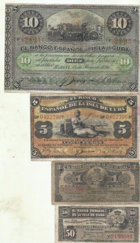 SPAIN COLONIAL SET 4 NOTES 50 CENTS TO 10 PESOS 1896 F-VF CONDITION 4RW 28NOV