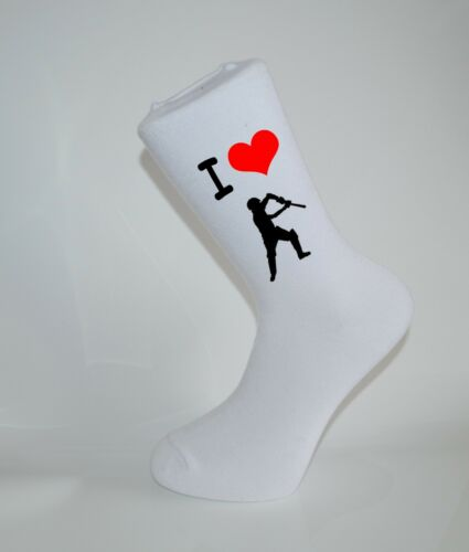 I Love Cricket White Socks Great Socks for the sportsman