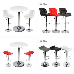 3-Piece-Set-Bar-Stools-Table-Leather-Cushion-Chair-Adjustable-Swivel-Counter-Pub