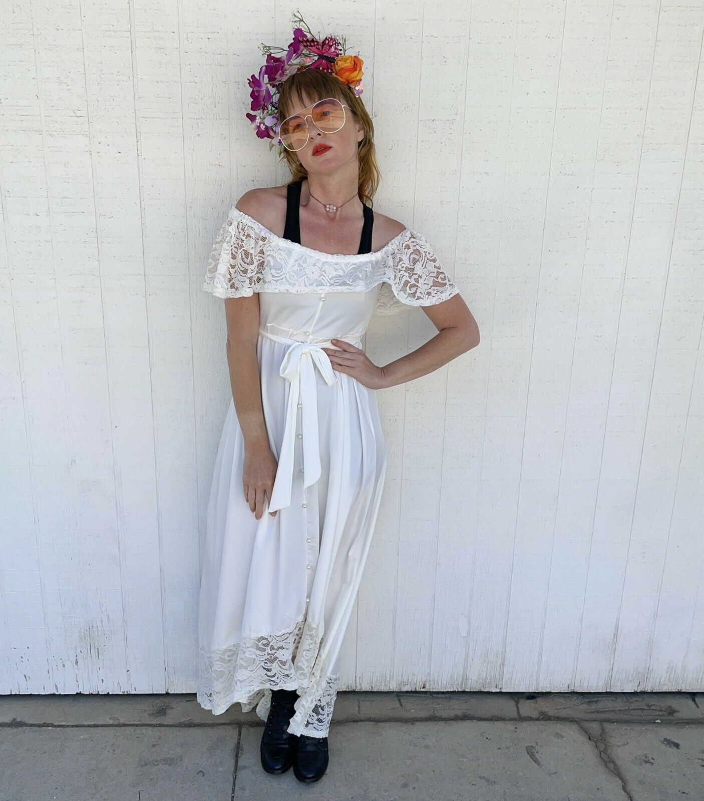 Vintage White Lace Gown Wedding Lingerie Prairie … - image 2