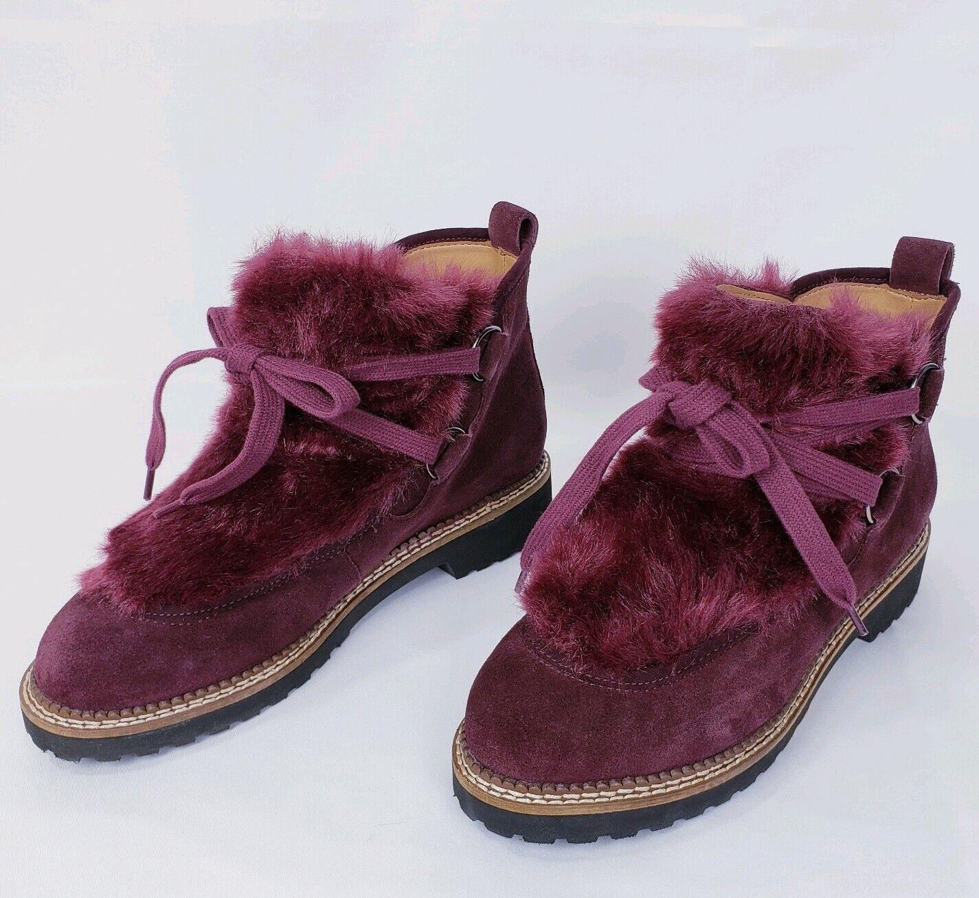 Franco Sarto Highland Brgndy Brgndy Brgndy Faux Fur Trimmed Ankle Boot  Size  7M feb05c