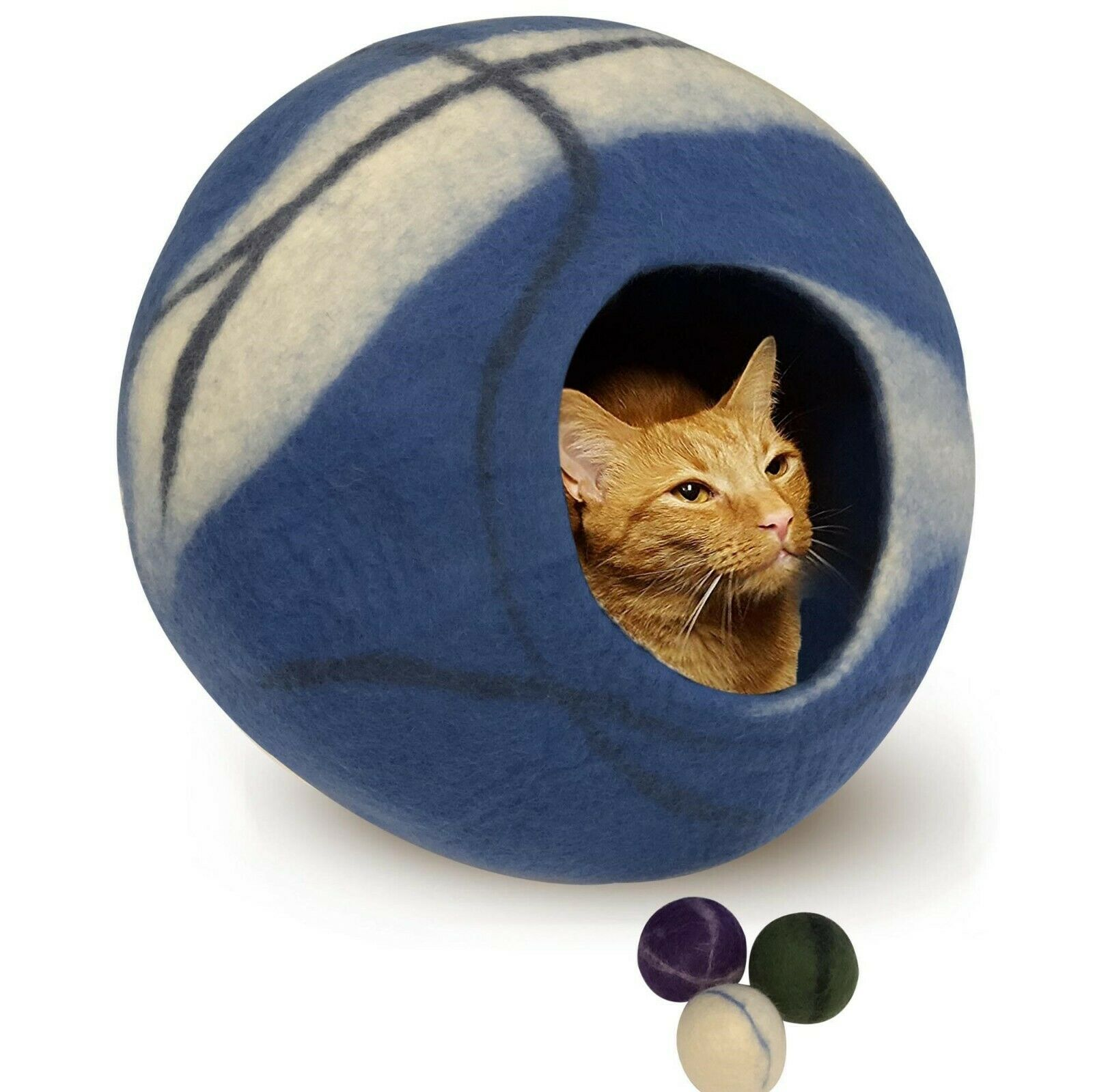 Genuine Felt Cat Bed Cave, Handmade in Nepal with 100% All Natural Wool