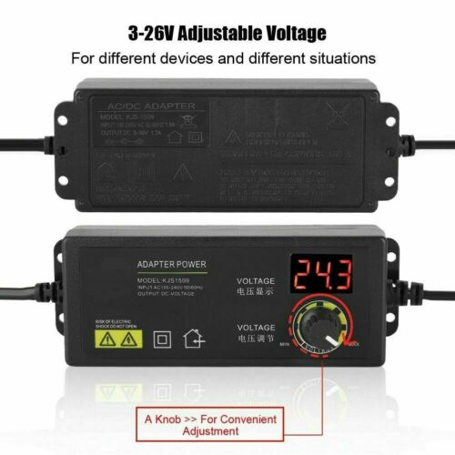 Adjustable Voltage 3-36V Power Supply Adapter AC //DC Switch W// LED Power Adapter