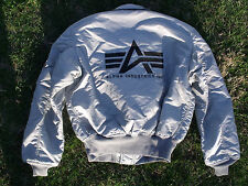 NEW US MADE Alpha Industries 45/P  Pilot Military Bomber Flight Jacket Silver L